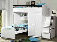 Bueno White: Bunk Bed, 2 door under bunk bed wardrobe and a Children's Bed