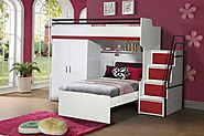 Bueno Cherry Red: Bunk Bed, 2 door under bunk bed wardrobe and a Children's Bed