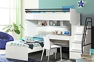 Bueno White: Contemporary Bunk Bed, Children's Bed and a Study Desk