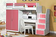 Brave Pink Contemporary Bunk Bed with 2 Door Under Wardrobe, a shelf and a Study Desk