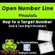 Introduction to Open Number Line: Hop to a Target Number Worksheets
