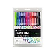 Tombow Twintone Marker Set 12-Pack Dual-Tip, Bright
