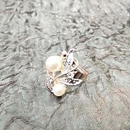 Gold Plated designer Ring with white pearls