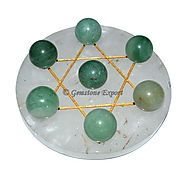 Buy CRYSTAL QUARTZ GOLDEN DAVID STAR BASE WITH GREEN at Gemstone Export