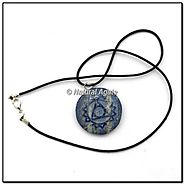 Buy Lapis Lazuli Embossed Throat Symbol Pendants at Natural agate