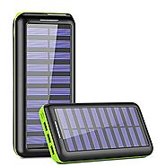 Solar Charger,KEDRON 24000mAh Portable Charger Power Bank with Dual Input Port and 3 USB Output External Battery Pack...