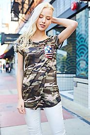 Army Print with Flag Sequin Pocket
