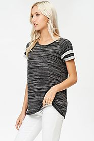 Banded Contrast Sleeve Stripe Top
