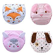 Max shape Toddler Baby Girl Pee Potty Training Pants Cute Diaper Nappy 4 Pack XL