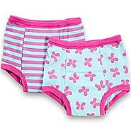 green sprouts Training Underwear 2T Girls - 2 Pairs Of Soft Potty Training Pants For Girls, 24 Months (Aqua Butterfly...