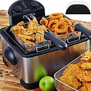 Secura 4.2L/17-Cup 1700-Watt Stainless-Steel Triple-Basket Electric Deep Fryer, with Timer Free Extra Oil Filter