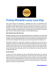 Finding Affordable Luxury Lace Wigs | edocr