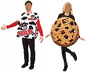Milk and Cookie Couples Adult Standard Costume Set Men Women One Size Halloween