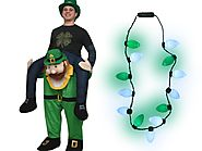 Adult St. Patrick's Day Carry Me Ride On A Leprechaun Costume Bulb Necklace Set