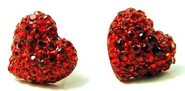 "Cute Sparkling 1/2"" Red Crystal Pave Puff Heart Stud Earrings - Valentines Day Fashion Jewelry"