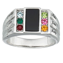 Sterling Silver Dad Ring with Birthstones and Names