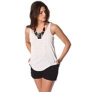 White speckled print top with low hem – Anthony's Emporium