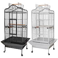 "Yescom Large OpenTop Parrot Bird Cage DomeTop PlayTop Vein Black/White Finch House Pet Supply 24""W x 22""D x 61""H"