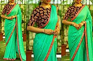 Bollywood Designer Green Plain Georgette Saree with Stone Work and Emb – Mahi Fashion