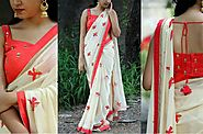 Bollywood Designer White georgette Party Wear Saree with Embroidered B – Mahi Fashion