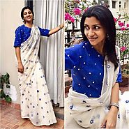 Konkona Sen Sharma White Fancy Embroidery Chanderi Silk Bollywood Desi – Mahi Fashion