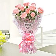 10 baby pink roses is the best bouquet to send your warmest wishes to your loved ones - OyeGifts.com