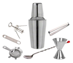 7 Piece Set - Stainless Steel Cocktail Martini Shaker Bar Set