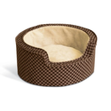 K&H 18-Inch Round Self-Warming Comfy Sleeper, Small, Tan/Brown Squares