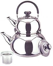 18/10 STAINLESS STEEL TURKISH SAMOVAR STYLE DOUBLE TEA KETTLE & POT
