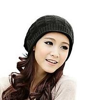 JOVANA Women Girl Triangle Slouchy Knit Beret Beanie Hat Cap Black