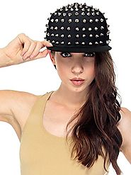 AMC(TM) Punk Rock Style Boys Girls Flat Bill Spiked Rivets Baseball Hat