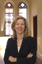 University of Pennsylvania's Amy Gutmann writes a page from her autobiography.