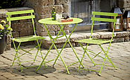 Folding Bistro Table and Chairs Set Outdoor Patio Metal 3-Piece Bright Green