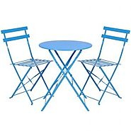 Best Choice Products 3-Piece Portable Folding Metal Bistro Set w/Table and 2 Chairs – Blue
