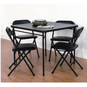 Mainstays 5 Piece Card Table and Chair Set, Black