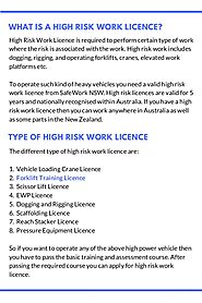 High Risk Work Licences