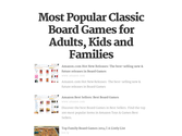 Most Popular Classic Board Games for Adults, Kids and Families