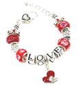 Pandora Style Bracelet, Summer Love with Silver Plated and Red Beads and Dangle Red Heart Charms, Gifts Ideas, by Ale...