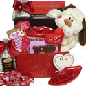SCHEDULE YOUR DELIVERY DAY! A Big Kiss For You! Valentines Plush Puppy Care Package Gift Box - Valentine's Day