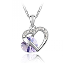 Valentine's Day Gifts - Swarovski Austrian Crystal Elements Double Heart Charm Pendant Necklace - 18 Inch Chain 18k T...