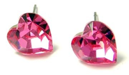"X-Small 1/4"" Multi-faceted 6mm Sparkling Pink Genuine Swarovski Crystal Heart Stud Earrings for Valentines Day Gift"