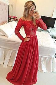 Long Sleeve Prom Dresses Two Pieces