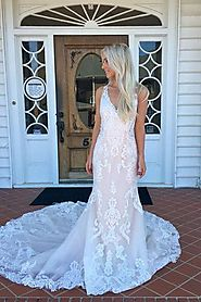 White Wedding Dresses With Sleeves | Beach Wedding Dresses Long – Promnova