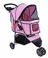 MDOG2 3-Wheel Front & Rear Entry MK0015A Pet Stroller (Pink)