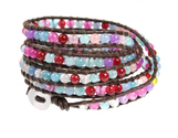 BohoJazz Red Blue Pink Purple Bead Leather Wrap Bracelet 39 Inch Extra Long 5x Wrap in Gift Box