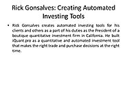 Rick Gonsalves: Creating Automated Investing Tools