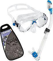Cressi Marea and Dry Snorkel Combo Set with Carry Bag -Made in Italy
