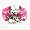 Vintage Silver Infinite Bracelet Love Pink Leather Rope Infinity Knit Punk Style