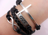 Vintage Silver Cross Bracelet Infinity Love Black Leather Rope Infinite Bangle