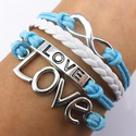 Handmade Infinity Bracelet Love Sky Blue Rope White Leather Weave Vintage Silver